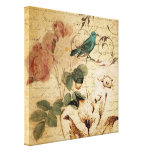 vintage rose scripts bird floral fashion canvas print