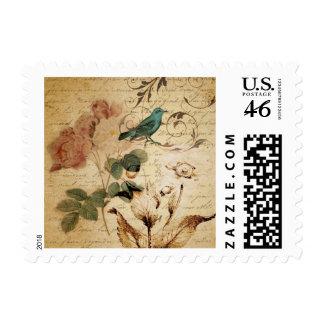 vintage rose scripts bird floral fashion stamp