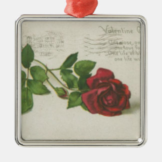 Vintage rose stamp letter print metal ornament