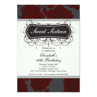 Vintage Rose Sweet Sixteen Birthday Invitation