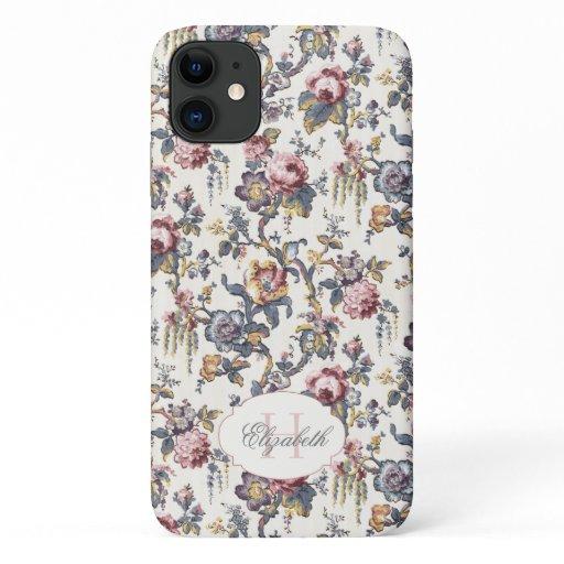 Vintage Rose Tapestry Floral w/Monogram iPhone 11 Case