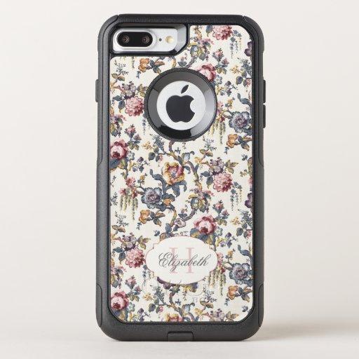 Vintage Rose Tapestry Floral w/Monogram OtterBox Commuter iPhone 8 Plus/7 Plus Case