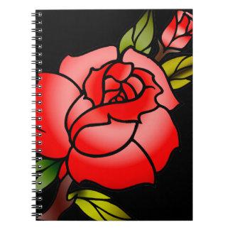 vintage rose tattoo notebook