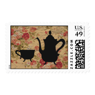 Vintage Rose Tea Postage Stamp
