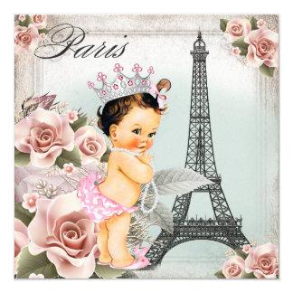 Vintage Rose Tower Paris Baby Shower 5.25x5.25 Square Paper Invitation Card