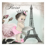 Vintage Rose Tower Paris Baby Shower Invitations