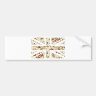 Vintage Rose Union Jack British(UK) Flag Bumper Sticker
