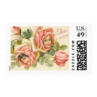 Vintage Rose Valentine Postage