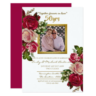Vintage Rose Wedding Anniversary - ANY YEARS Invitation