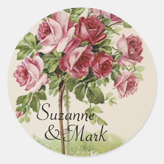 Vintage Rose Wedding Classic Round Sticker