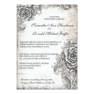 Vintage Rose Wedding Invitation