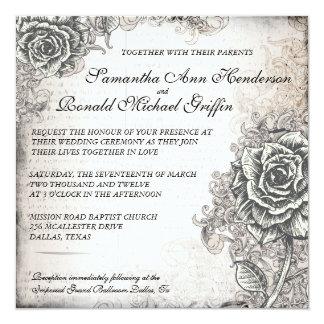 "Vintage Rose Wedding Invitation 5.25"" Square Invitation Card"