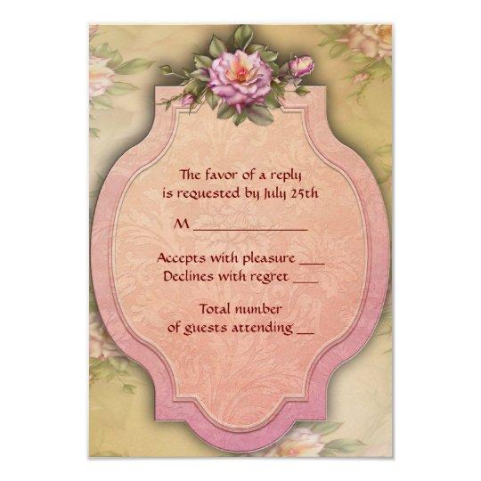 Vintage Rose Wedding Invitation RSVP