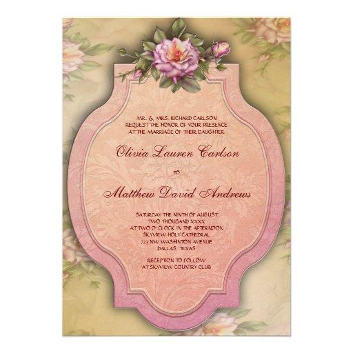 Vintage Rose Wedding Invitations 5 X 7 Invitation Card