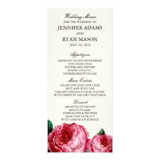 VINTAGE ROSE   WEDDING MENU CUSTOM RACK CARDS