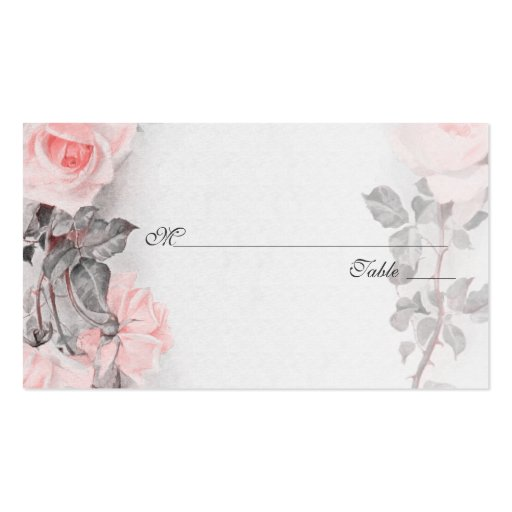 Vintage Rose Wedding Place Or Escort Cards Business Card