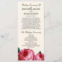 Vintage Rose | Wedding Program Rack Card