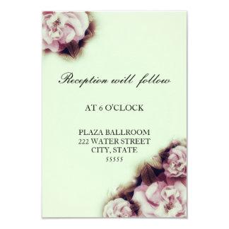 Vintage Rose Wedding Reception Card