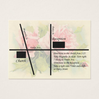 Vintage Rose Wedding Reception Maps Business Card