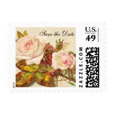 Vintage Rose Wedding Save the Date Postage