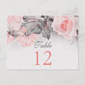 Vintage Rose Wedding Table Cards postcard