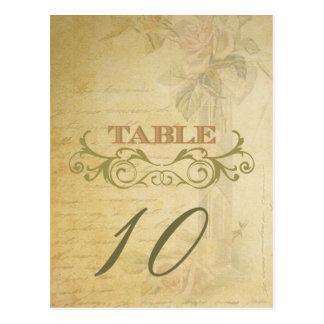 Vintage Rose Wedding Table Number Cards