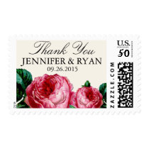VINTAGE ROSE WEDDING THANK YOU POSTAGE