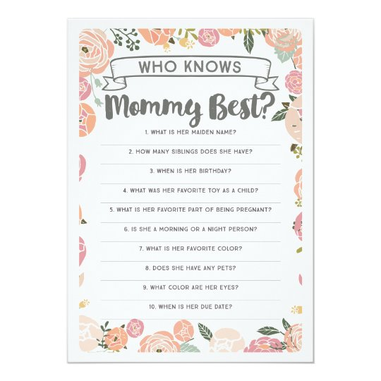 Vintage Rose Who Knows Mommy Best Baby Shower Game