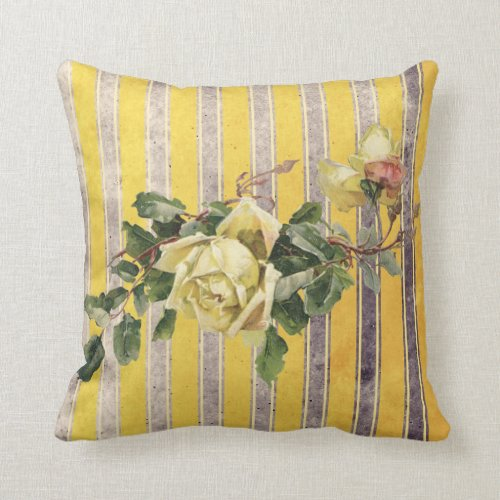 Vintage Rose with Rustic Yellow and Grey Stripe Throw Pillow