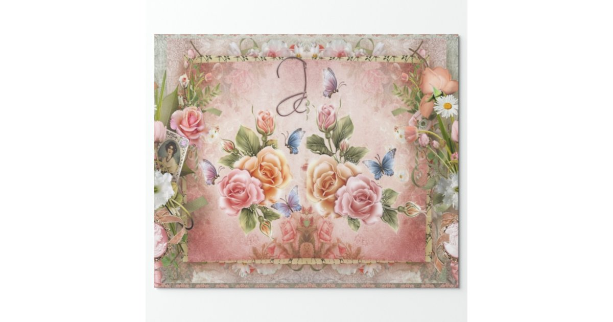 Vintage Rose Wrapping Paper Zazzle