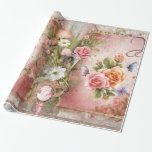 """Vintage Rose Wrapping Paper<br><div class=""""desc"""">Beautiful Roses Glossy Wrapping Paper</div>"""
