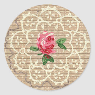 Vintage Rosebud Crochet Wallpaper Design Sticker