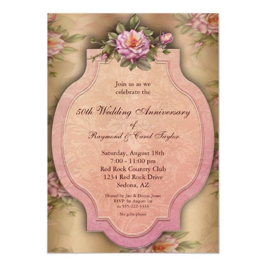 Vintage Roses 50th Anniversary Party Invitations