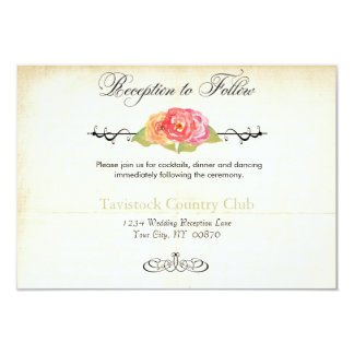 """Vintage Roses Abstract Flowers Reception Card 3.5"""" X 5"""" Invitation Card"""