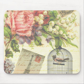 Vintage Roses and Caged Bird Mouse Pad