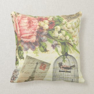 Vintage Roses and Caged Bird Throw Pillow