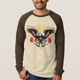 Vintage Roses and Eagle Tatttoo Design T-Shirt