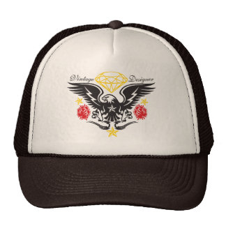 Vintage Roses and Eagle Tatttoo Trucker Cap Trucker Hat