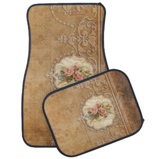 Vintage Roses and Embossed Engraving Car Mat
