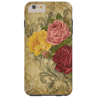 Vintage Roses and Engraved Swirls on Gold Damask Tough iPhone 6 Plus Case