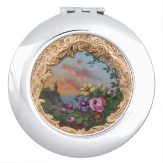 VINTAGE ROSES AND FLOWERS WITH LANDSCAPE VANITY MIRROR