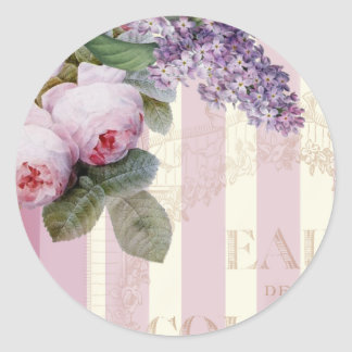 Vintage Roses and Lilac Classic Round Sticker