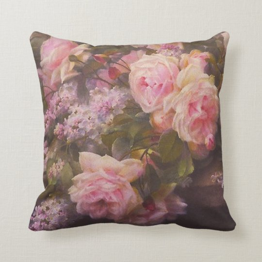 Vintage Roses and Lilacs Throw Pillow
