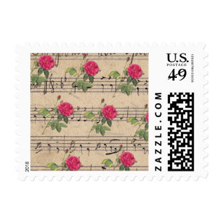 Vintage Roses and Music Sheet Notes Postage