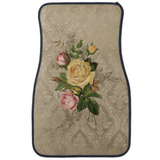Vintage Roses and Sepia Damask Car Floor Mat