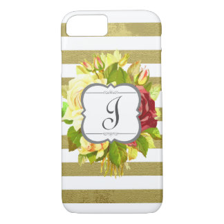 Vintage Roses and Stripes Monogram Initial Floral iPhone 7 Case