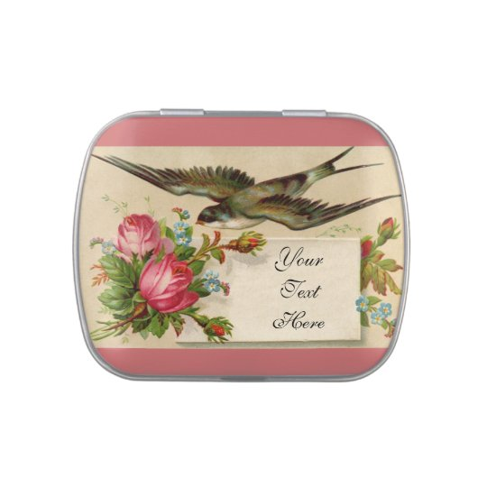 Vintage Roses and Swallow Jelly Belly Tin