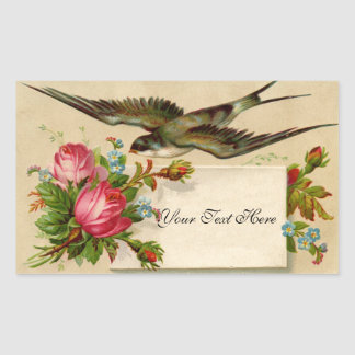Vintage Roses and Swallow Rectangular Sticker