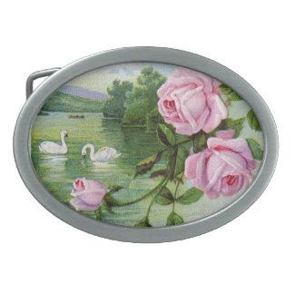 Vintage Roses and Swans Oval Belt Buckles