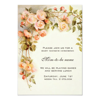Vintage Roses, Antique Flowers, Floral Baby Shower Card